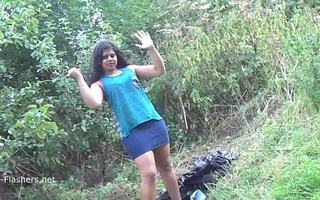 Indian amateur bbw Kikis public flashing and outdoor voyeur berate with a