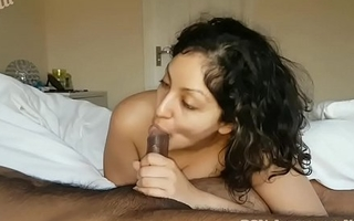 Wet-nurse cures brothers morning wood unconnected with giving sensual deepthroat Blowjob with ball sucking cum swallow while he sleeps POV Indian