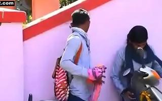 Desi Indian long hair teen school girl outdoor